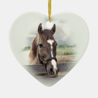 Brown Horse with Bridle Ceramic Ornament