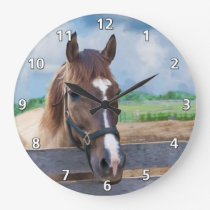 Brown Horse with Bridle Clock