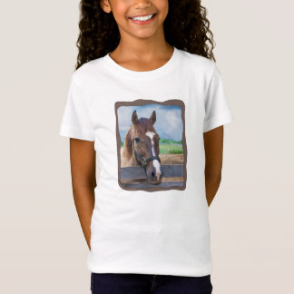 Brown Horse with Bridle Customizable T-Shirt