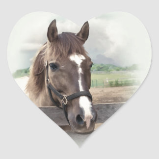 Brown Horse with Bridle Heart Sticker