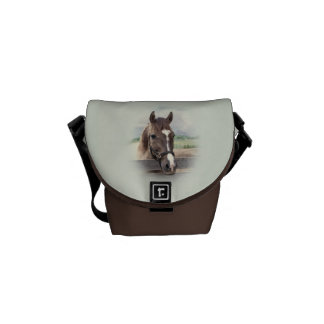 Brown Horse with Bridle Messenger Bag