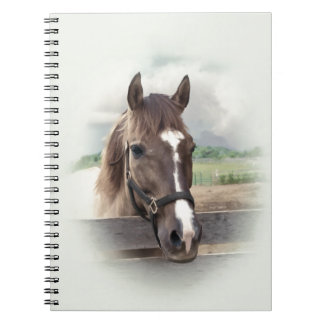 Brown Horse with Bridle Spiral Notebook