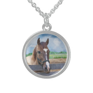 Brown Horse with Bridle Sterling Silver Necklace