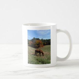 Brown horse with fall trees coffee mug