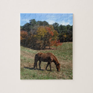 Brown horse with fall trees jigsaw puzzle