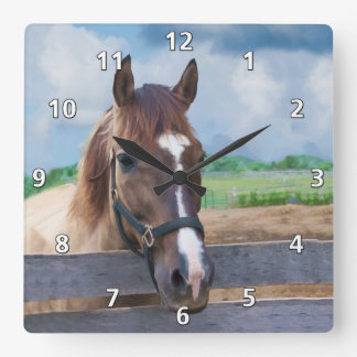 Brown Horse with Halter Square Wall Clock