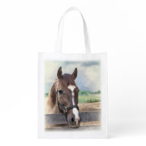 Brown Horse with Halter Grocery Bag