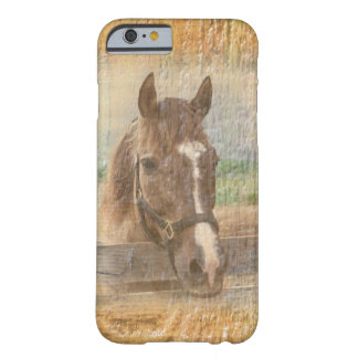 Brown Horse with Halter on Old Wood Barely There iPhone 6 Case