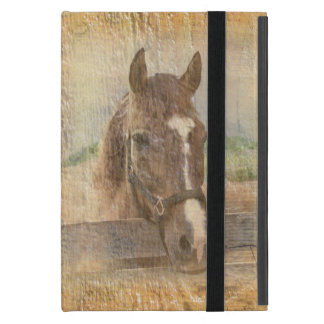 Brown Horse with Halter on Old Wood Cases For iPad Mini