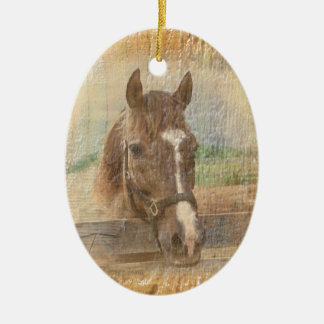 Brown Horse with Halter on Old Wood Ceramic Ornament