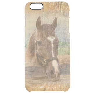 Brown Horse with Halter on Old Wood Clear iPhone 6 Plus Case
