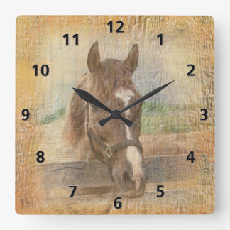Brown Horse with Halter on Old Wood Square Wallclock