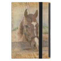 Brown Horse with Halter on Old Wood Cover For iPad Mini