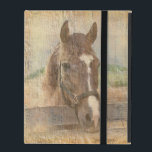 """Brown Horse with Halter on Old Wood iPad Folio Case<br><div class=""""desc"""">A chestnut brown horse with a white streak on its face is seen standing in the paddock.  The image appears to be faded onto old wood.  The wood-like background is artwork by Karens Scaps and Graphics at Digital Scrap Designs.  Customize by adding a caption,  name,  or monogram.</div>"""