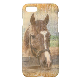 Brown Horse with Halter on Old Wood iPhone 7 Case