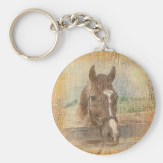 Brown Horse with Halter on Old Wood Keychain