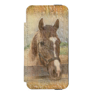 Brown Horse with Halter on Old Wood Wallet Case For iPhone SE/5/5s