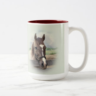 Brown Horse with Halter Two-Tone Coffee Mug
