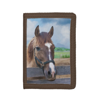 Brown Horse with Halter Trifold Wallets