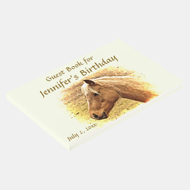 Brown Horse Yellow Sun Birthday Party Guest Book