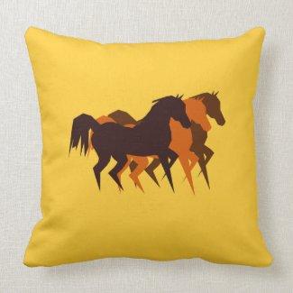 Brown Horses American MoJo Pillow throwpillow