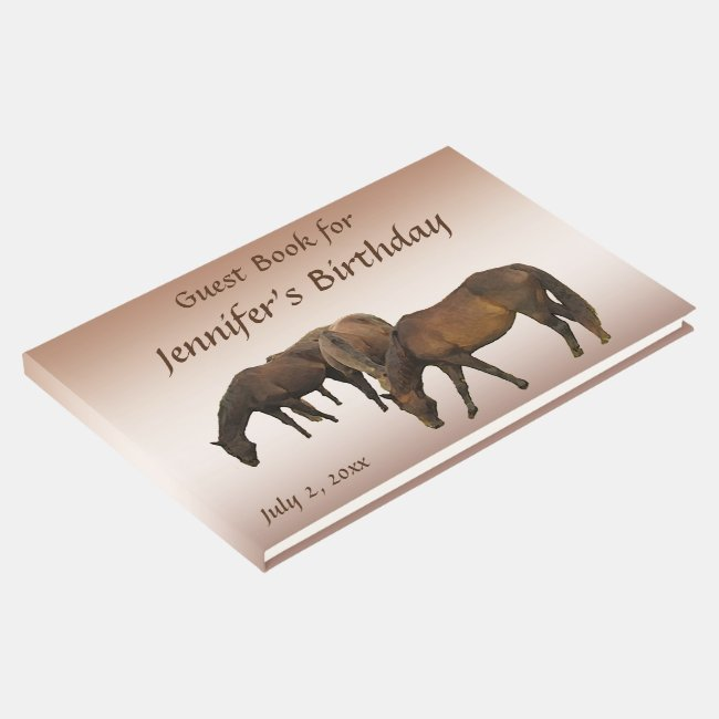 Brown Horses Animal Birthday Party Guest Book