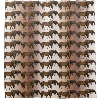 Brown Horses Animal Shower Curtains