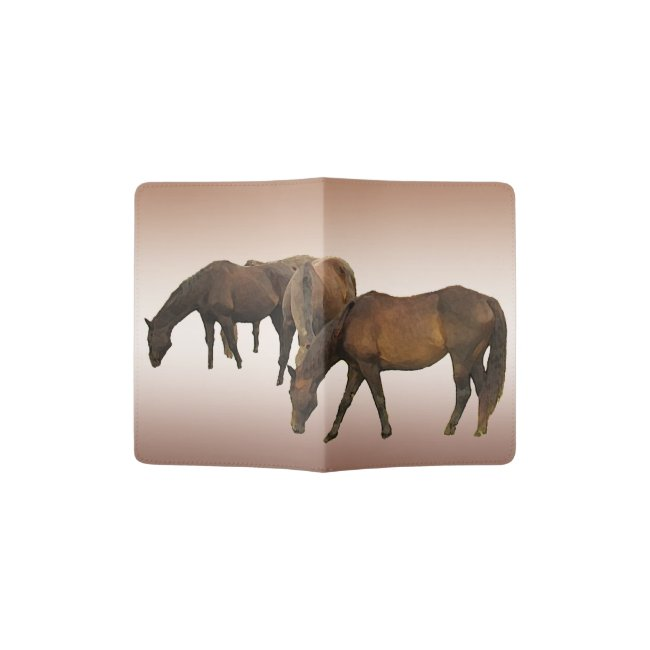 Brown Horses Grazing Passport Holder