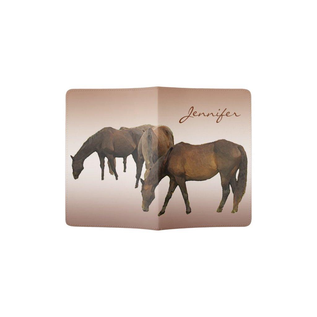 Brown Horses Grazing Passport Holder