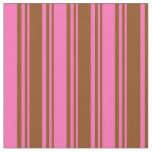 [ Thumbnail: Brown & Hot Pink Colored Lined/Striped Pattern Fabric ]