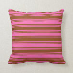 [ Thumbnail: Brown & Hot Pink Colored Lined/Striped Pattern Throw Pillow ]