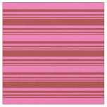 [ Thumbnail: Brown & Hot Pink Lines Pattern Fabric ]