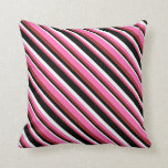 [ Thumbnail: Brown, Hot Pink, Mint Cream, and Black Colored Throw Pillow ]