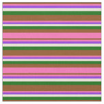 [ Thumbnail: Brown, Hot Pink, Purple, Bisque & Dark Green Fabric ]