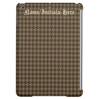 Brown Houndstooth Pattern Men's Monogrammed iPad Air Cover