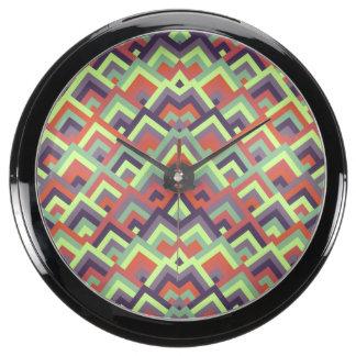 Brown Hues Zigzag Symmetric Peeks Pattern Aquarium Clock