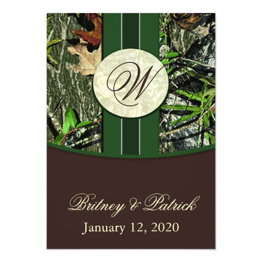 Brown & Hunter Green Camo Wedding Invitations