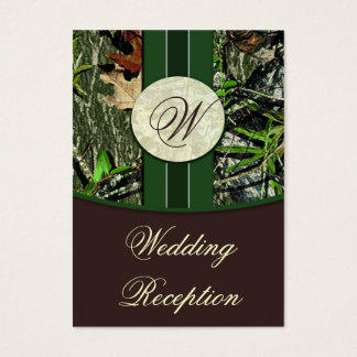 Brown & Hunter Green Camo Wedding Reception Cards