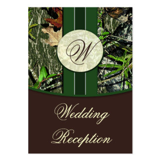 Brown & Hunter Green Camo Wedding Reception Cards Large Business Cards (Pack Of 100)