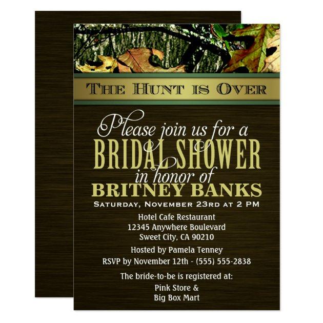 Brown Hunting Camo Bridal Shower Invitations | Zazzle