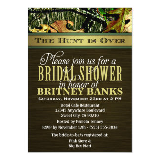 Brown Hunting Camo Bridal Shower Invitations
