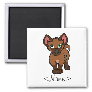 Brown Hyena Cub 2 Inch Square Magnet