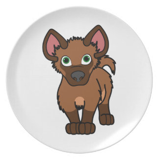 Brown Hyena Cub Melamine Plate