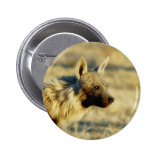 Brown hyena wildlife badges buttons