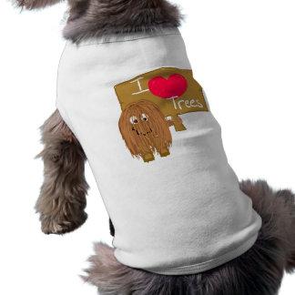 Brown i heart trees dog tee shirt