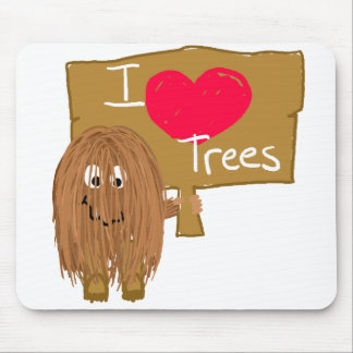 Brown i heart trees mouse pad