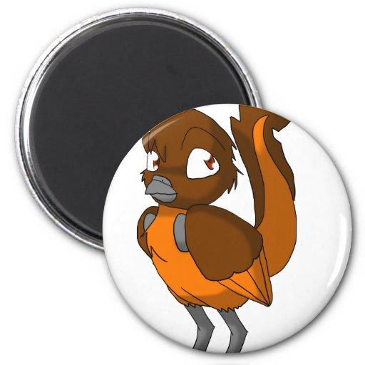 Brown/imán reptil anaranjado del pájaro imán redondo 5 cm