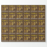 "[ Thumbnail: Brown, Imitation Gold Look ""10th Birthday"" Wrapping Paper ]"