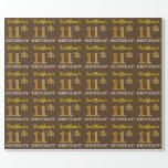 "[ Thumbnail: Brown, Imitation Gold Look ""11th Birthday"" Wrapping Paper ]"