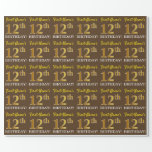 "[ Thumbnail: Brown, Imitation Gold Look ""12th Birthday"" Wrapping Paper ]"